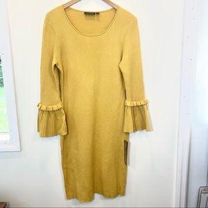 Nina Leonard yellow ribbed knit long sleeve dress